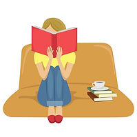 young-woman-reading-book-sitting-on-sofa