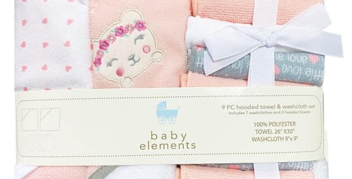 Peach Kitty 9 Piece Hooded Towel & Washcloth Set