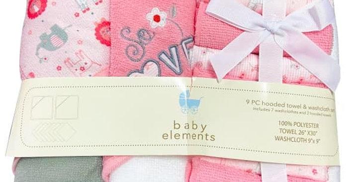 Pink Safari Love 9 Piece Hooded Towel & Washcloth Set