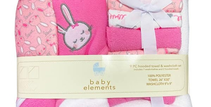 Pink Bunny 9 Piece Hooded Towel & Washcloth Set