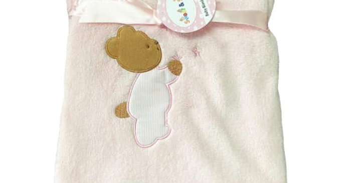 Pink Teddy Love Plush Blanket