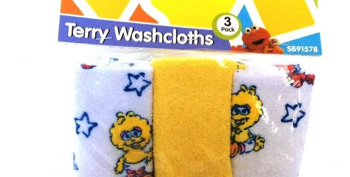 Big Bird Pack of 3 Wash Cloths