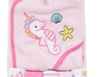 Unicorn Hooded Towel & Washcloth Set
