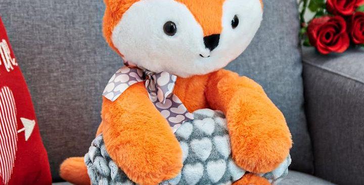 Plush Blanket & Fox Stuffed Animal Teddy Set