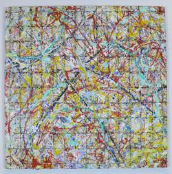 under construction 7 gelb und rot 120 x 120 cm