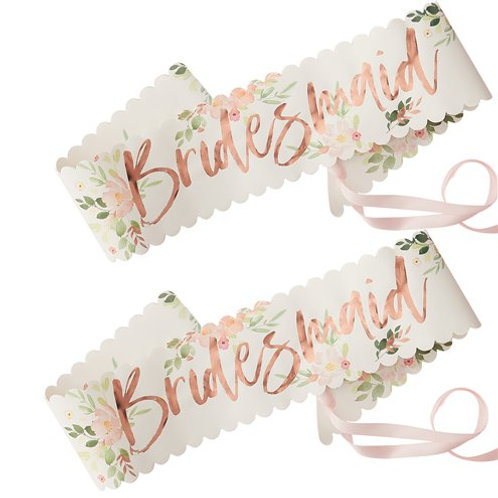 Bridesmaid Sash- Pack 2