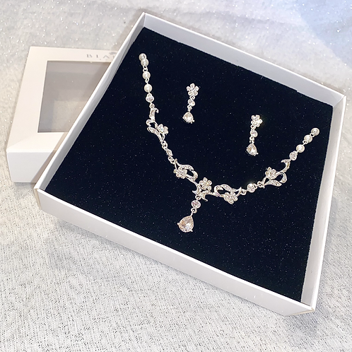 Pearl & Crystal Bridal Necklace & Earrings