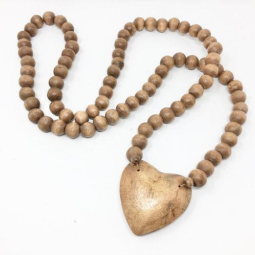 HAND CARVED WOODEN BEADS WITH HEART PENDANT