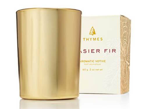 GOLD VOTIVE CANDLE  | FRASIER FIR | THYMES