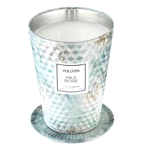 MILK ROSE | TWO WICK TABLE TIN CANDLE | VOLUSPA