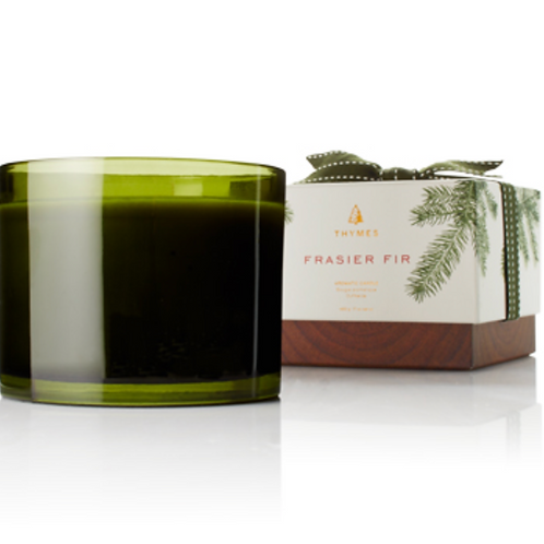 GREEN GLASS 3 WICK CANDLE | FRASIER FIR | THYMES
