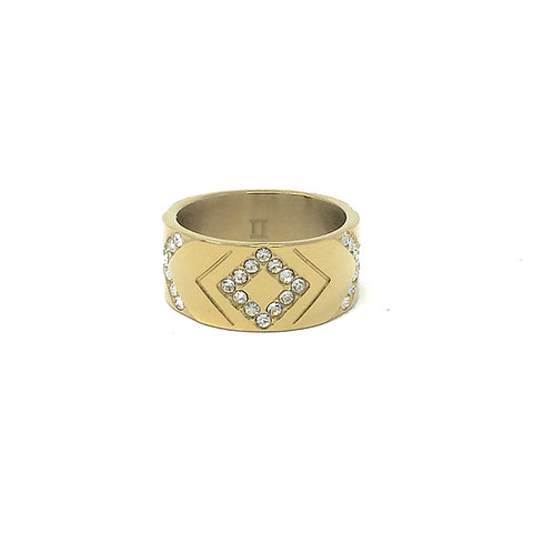 XO RING, GOLD + CRYSTAL - DYRBERG/KERN