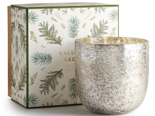 LARGE LUXE MERCURY GLASS CANDLE | BALSAM + CEDAR | ILLUME