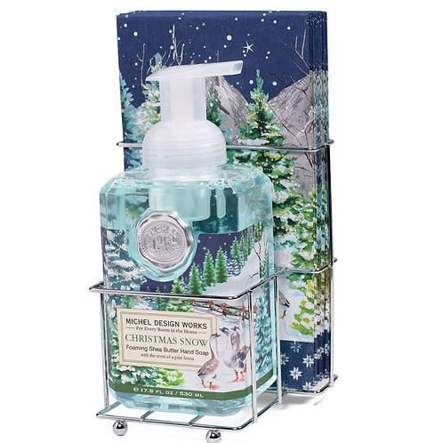 CHRISTMAS SNOW   FOAMING HAND SOAP + NAPKIN SET   MICHEL DESIGN WORKS