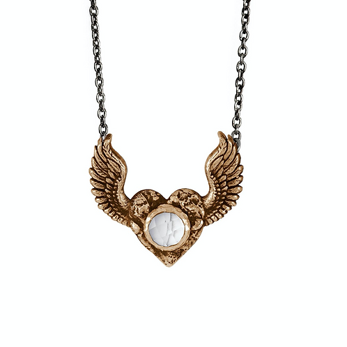 HEART WITH WINGS | CLEAR  QUARTZ FACETED STONE NECKLACE  | PYRRHA