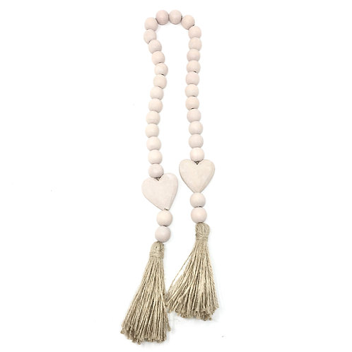 SMALL TASSEL + HEART  WOODEN BEADS | BLUSH