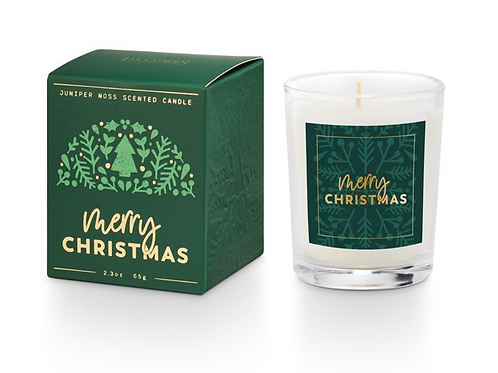 MERRY CHRISTMAS BOXED VOTIVE CANDLE | JUNIPER MOSS | ILLUME