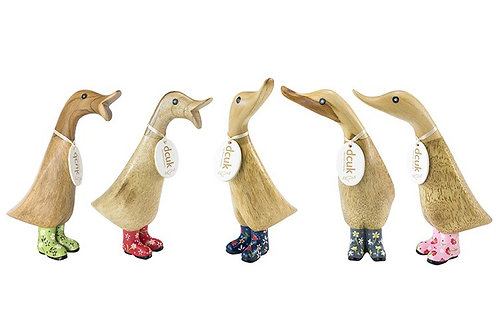 DCUK Natural Finish Duckling - with floral welly boots