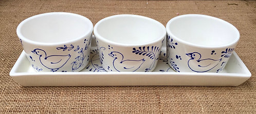 Dipping tray - blue pattern
