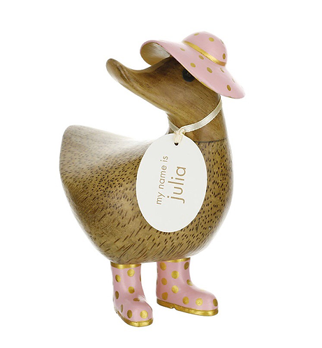 DCUK Natural Finish Mothers Day Ducky - Pink with Gold Spots