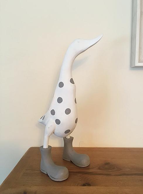 Spotty Duck White & French Grey