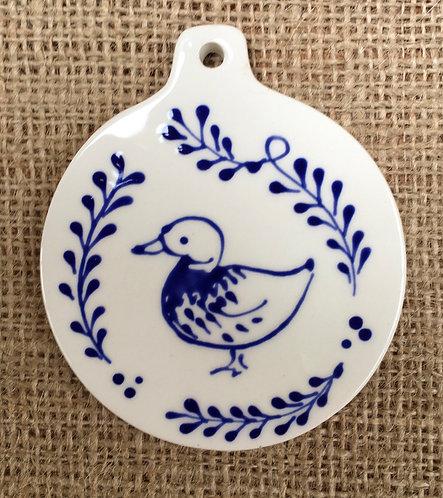 Hanging decoration - circular blue pattern