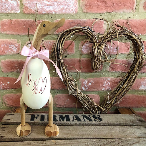 'Love you' rose gold/ cream duck