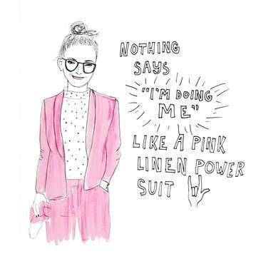 Pink Linen Power Suit