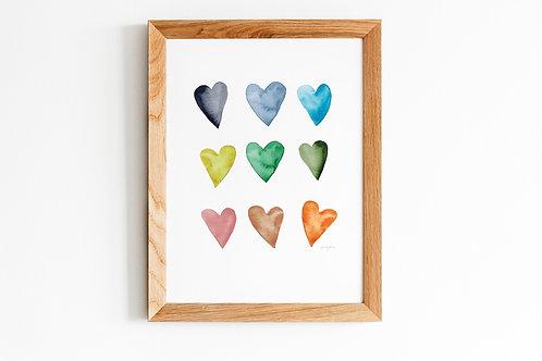 Rainbow Heart Print