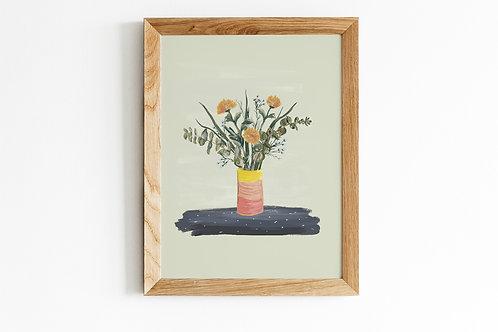 Yellow Mums & Eucalyptus Art Print
