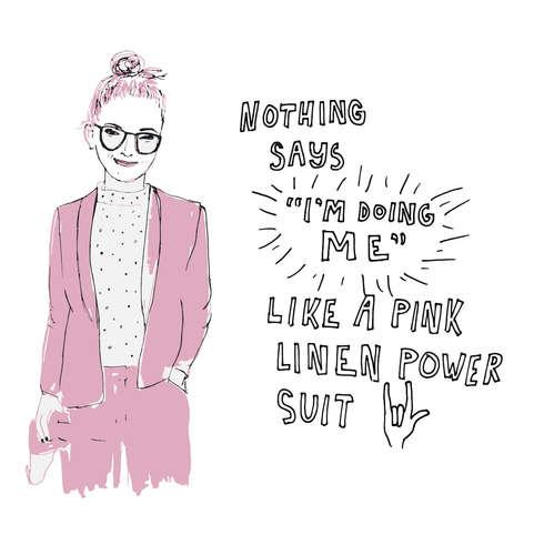 Pink Linen Powersuit Illustration