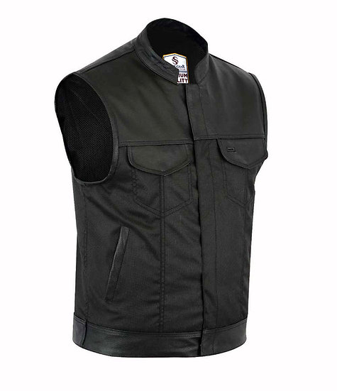 Pier leather trim cordura leather vest