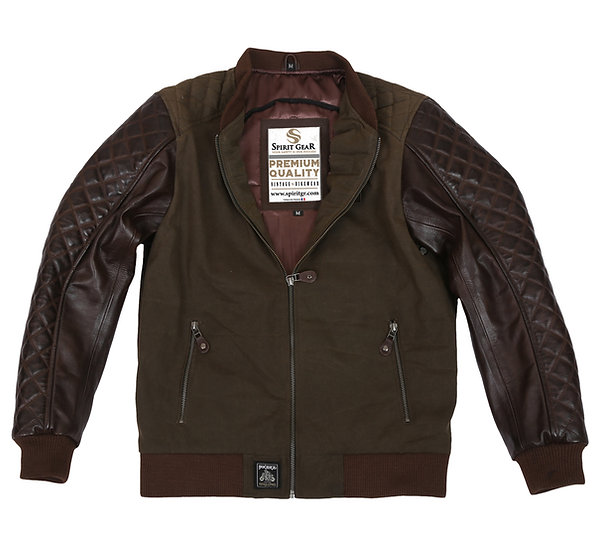 A-2 WAXED COTTON AND LEATHER JACKET