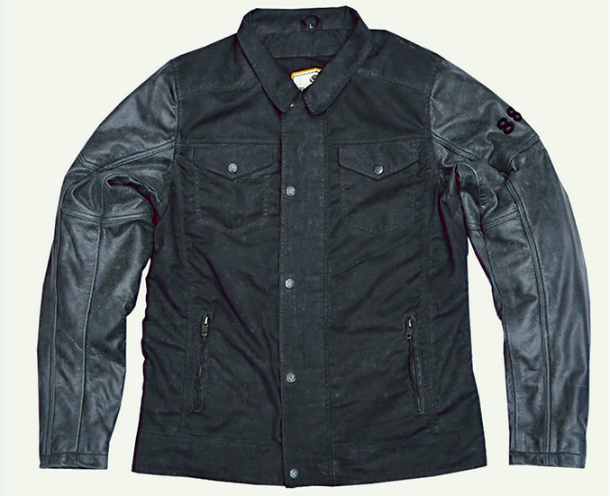 FLASH 2.0 WAXED COTTON AND LEATHER JACKET