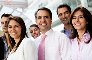 Group of successful business people lat