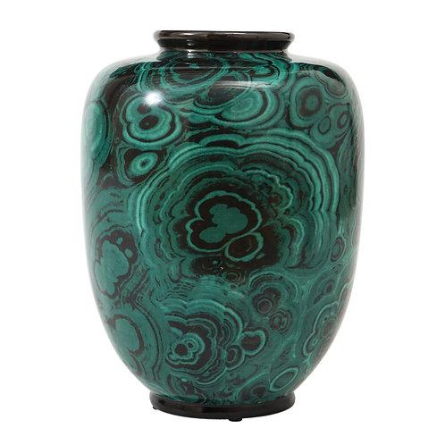 San Marco Faux Malachite Vase, Porcelain, Signed