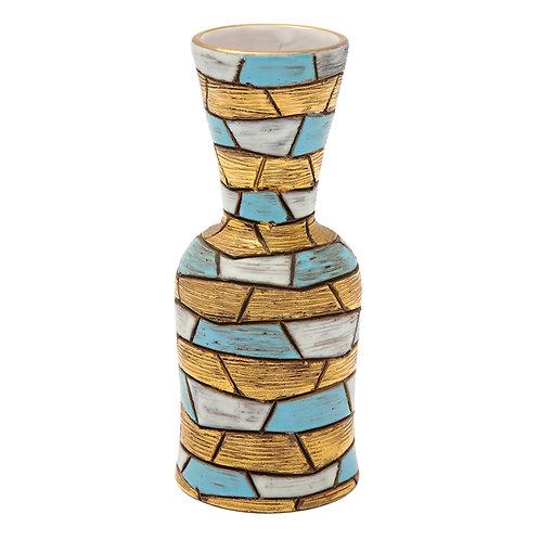 Fratelli Fanciullacci Vase, Ceramic, Blue, Gold and White, Mosaic, Signed
