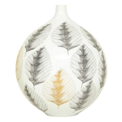 Hutschenreuther Vase, Porcelain, White, Black, Gold, Leaf Pattern, Signed