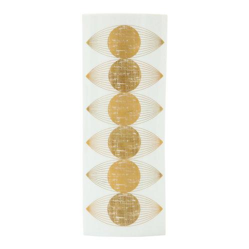 Fürstenberg Vase, Porcelain Gold and White, Op Art, Signed