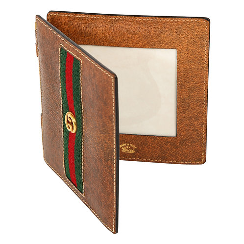 Gucci Bi-Fold Picture Frame, Brown Leather, Gold, Green and Red, Signed