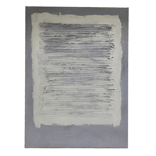 Adja Yunkers Collage Painting, Acrylic and Yarn on Canvas, White and Gray