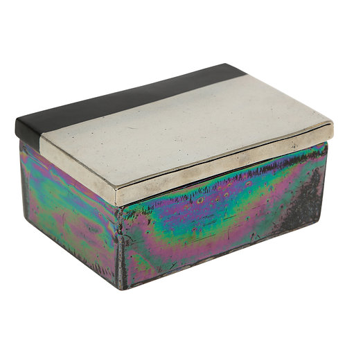 Raymor Bitossi Box, Ceramic, Silver Chrome and Black, Signed