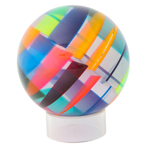 Vasa Mihich Sphere, Laminated Cast Acrylic, Blue, Magenta, Orange, Signed