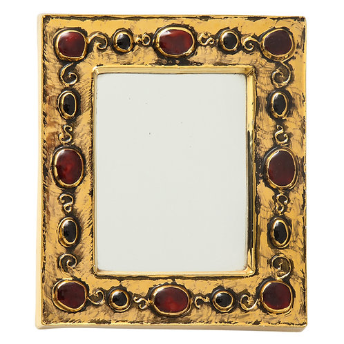Francois Lembo Ceramic Mirror Gold Red Jewel Signed, France, 1970s