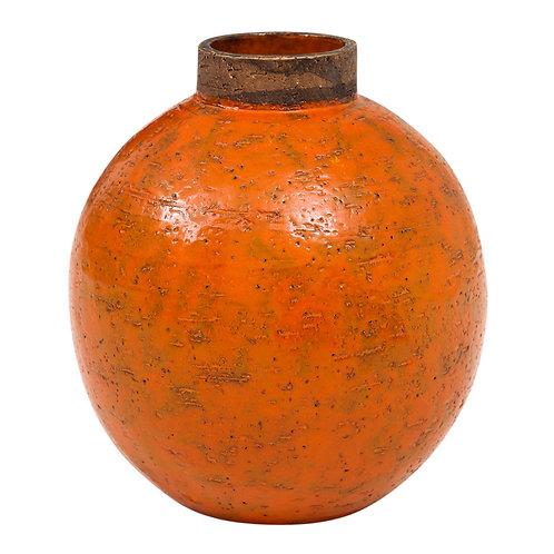 Bitossi Raymor Ceramic Vase Orange Brown Round Pottery Signed, Italy, 1960s