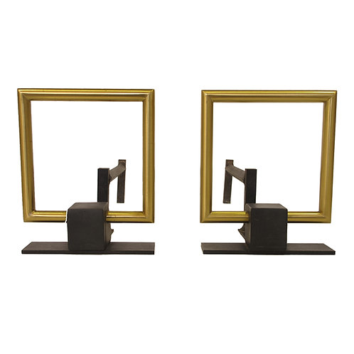 Modernist Andirons with Brass Square Buckle