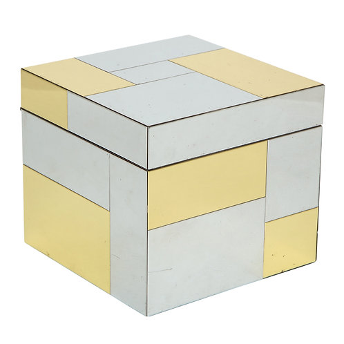 Paul Evans Ice Bucket, Cityscape Patchwork, Brass Chrome