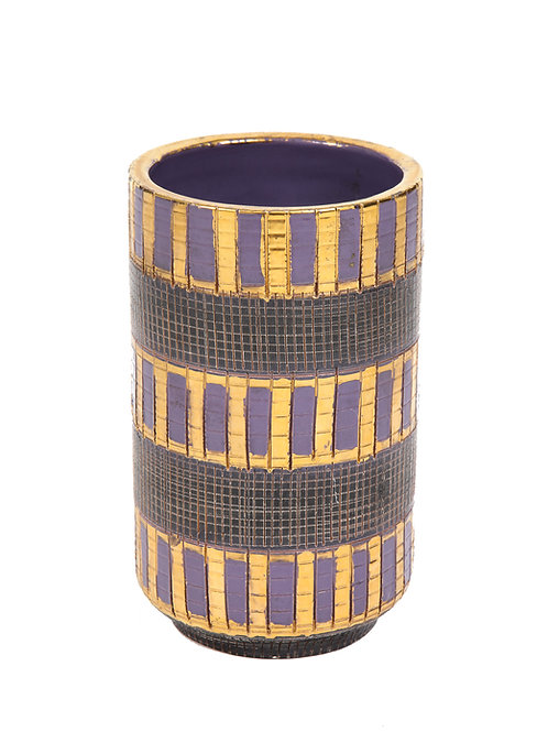 Aldo Londi Bitossi Seta Vase, Ceramic, Gold, Purple and Black, Signed