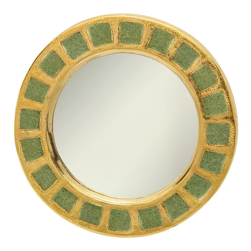 François Lembo Mirror, Ceramic, Gold and Green