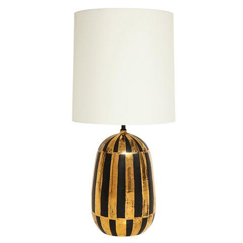 Bitossi Ceramic Table Lamp Stripes Gold Black Signed Italy 1960s